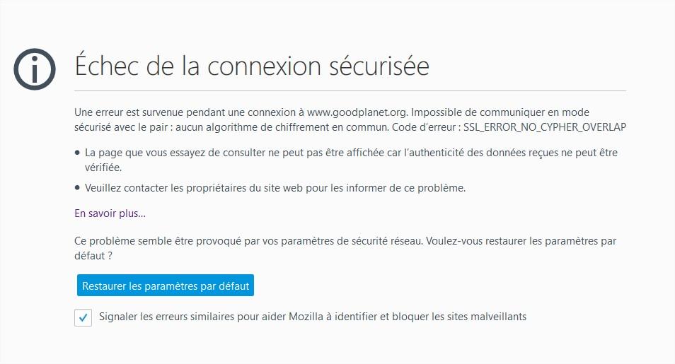 """le fameux bug """"SSL_ERROR_NO_CYPHER_OVERLAP"""" sous Firefox"""