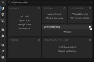 Ecran des modules - sélection web protection