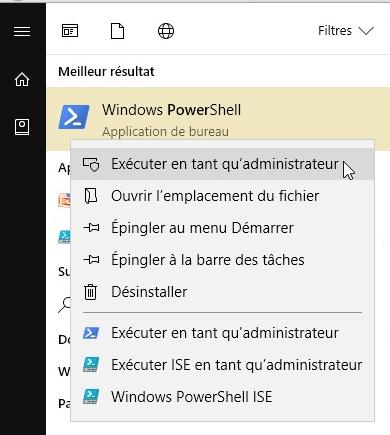 exécuter PowerShell en tant qu'administrateur