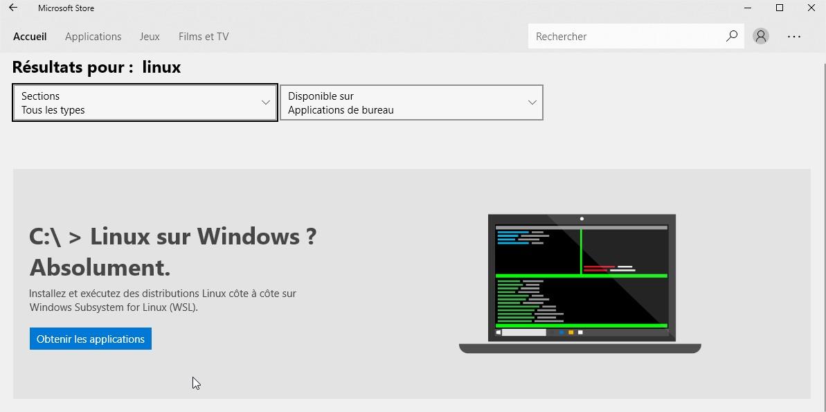 recherche linux dans Microsoft Store