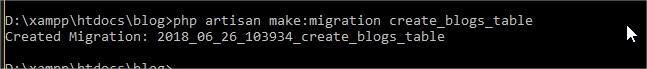 migration artisan en ligne de commande