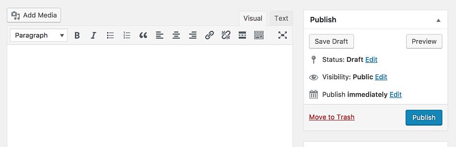 Capture d'écran de l'ancien éditeur de wordpress