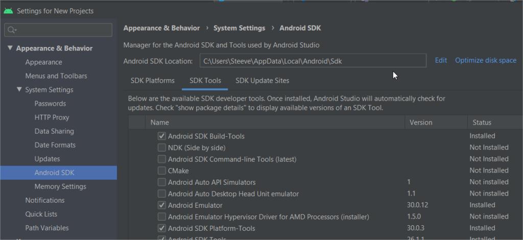écran sdk tools