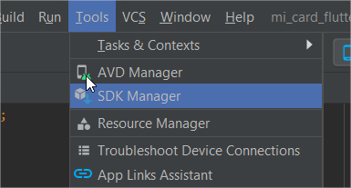 Menu tools/SDK Manager dans Android Studio
